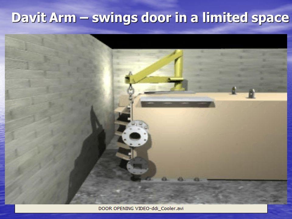 Davit Arm – swings door in a limited space Davit Arm – swings door in a limited space