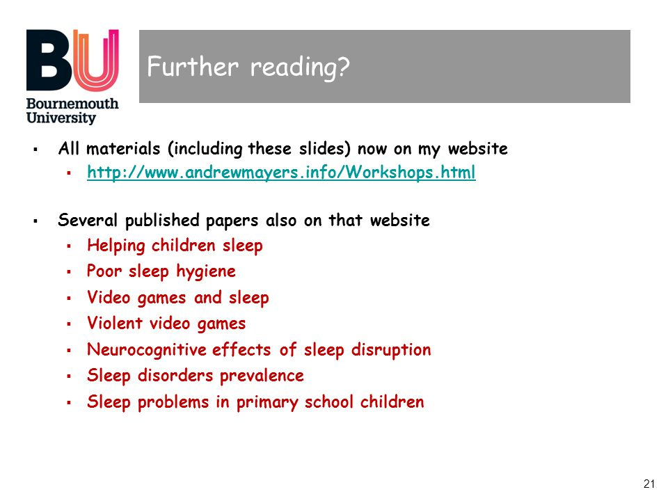 21 Further reading? All materials (including these slides) now on my website http://www.andrewmayers.info/Workshops.html Several published papers also