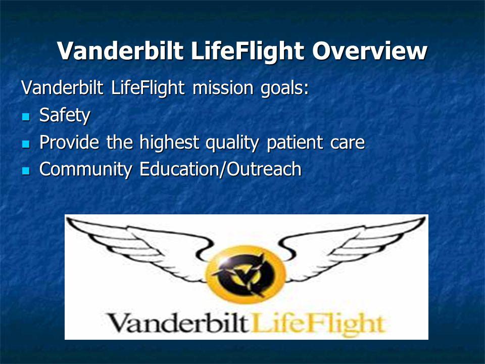 Vanderbilt LifeFlight Overview Vanderbilt LifeFlight mission goals: Safety Safety Provide the highest quality patient care Provide the highest quality