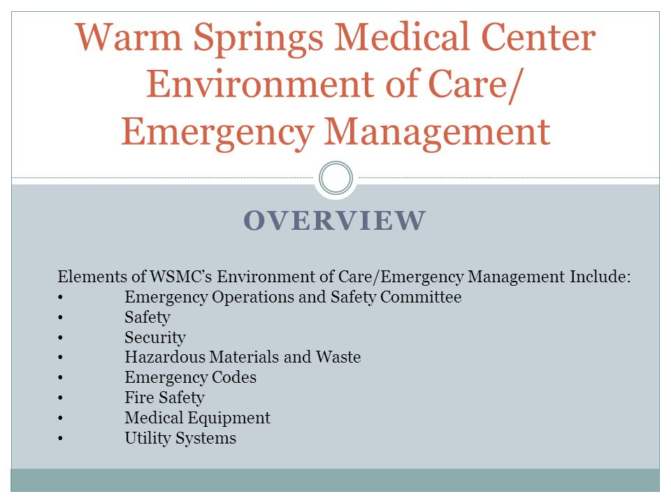 SUMMARY WSMC has an Emergency Operations and Safety Committee (EOSC) that oversees the Safety/Emergency Management Programs WSMC has controls in place to ensure each employee, patient, resident, and visitor is safe, secure, and comfortable while at WSMC Each employee should take initiative in familiarizing themselves with WSMCs Environment of Care/Emergency Management policies and procedures Each employee should promote a culture of safety!!