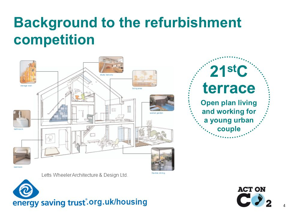 Presentation Title.org.uk/housing 4 Background to the refurbishment competition 21 st C terrace Open plan living and working for a young urban couple Letts Wheeler Architecture & Design Ltd.
