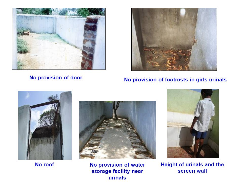 No provision of door No provision of footrests in girls urinals No provision of water storage facility near urinals No roofHeight of urinals and the screen wall