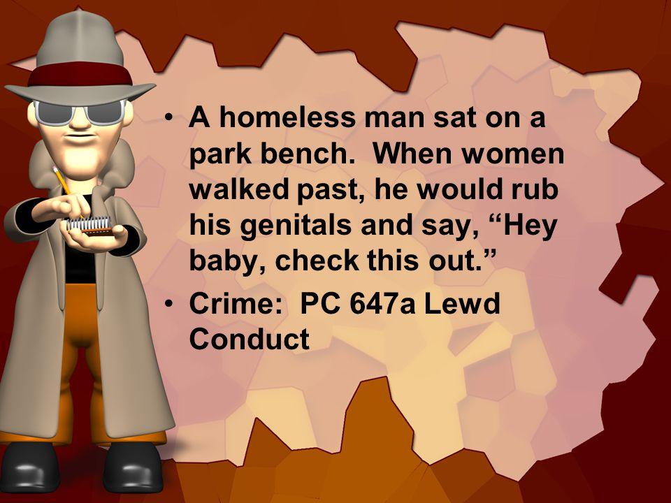 A homeless man sat on a park bench.