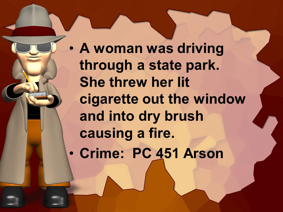 A woman was driving through a state park. She threw her lit cigarette out the window and into dry brush causing a fire. Crime: PC 451 Arson