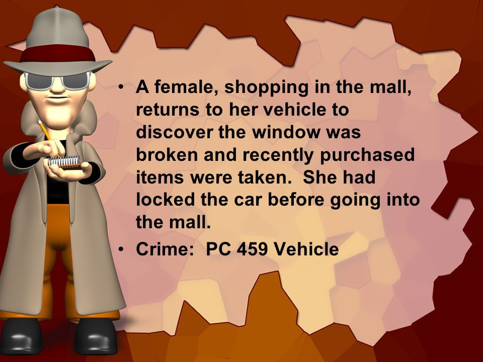 A female, shopping in the mall, returns to her vehicle to discover the window was broken and recently purchased items were taken. She had locked the c