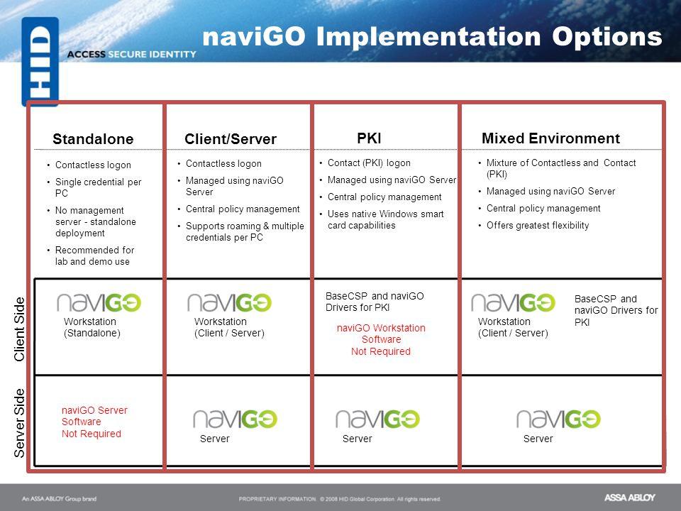 naviGO Implementation Options Workstation (Standalone) Server Workstation (Client / Server) Server BaseCSP and naviGO Drivers for PKI Contactless logo