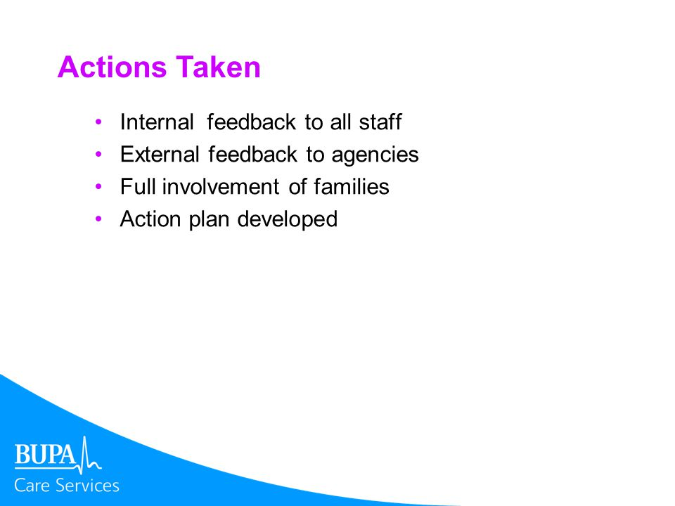 Actions Taken Internal feedback to all staff External feedback to agencies Full involvement of families Action plan developed