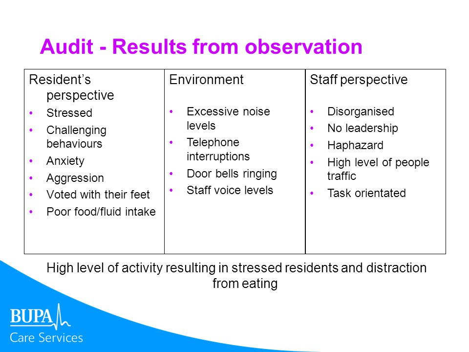 Audit - Results from observation Residents perspective Stressed Challenging behaviours Anxiety Aggression Voted with their feet Poor food/fluid intake Environment Excessive noise levels Telephone interruptions Door bells ringing Staff voice levels Staff perspective Disorganised No leadership Haphazard High level of people traffic Task orientated High level of activity resulting in stressed residents and distraction from eating