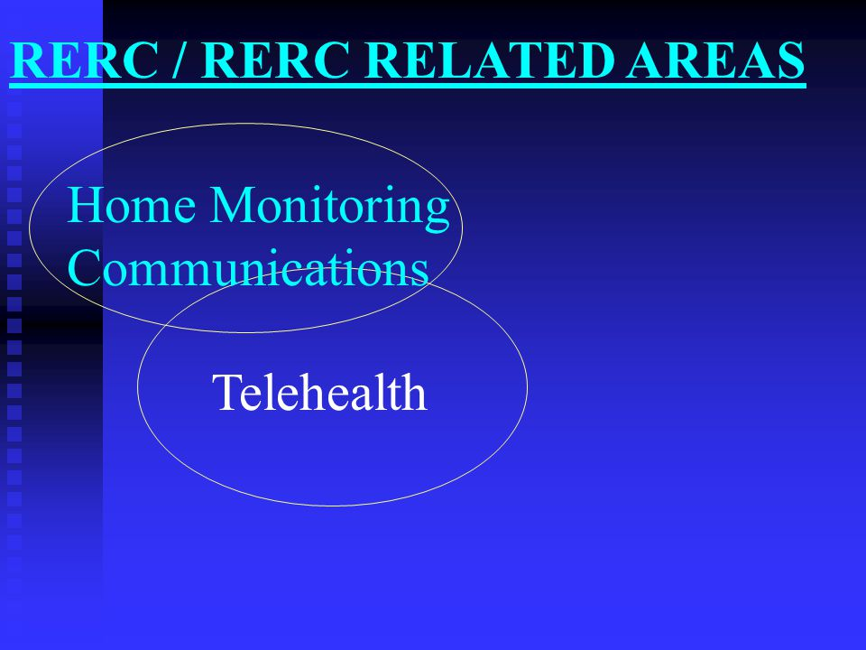 Home Monitoring Communications Smart Home Telehealth RERC / RERC RELATED AREAS