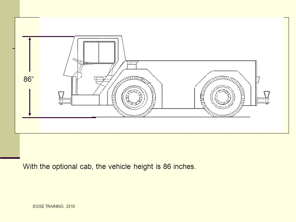 With the optional cab, the vehicle height is 86 inches. 86 ©GSE TRAINING 2010