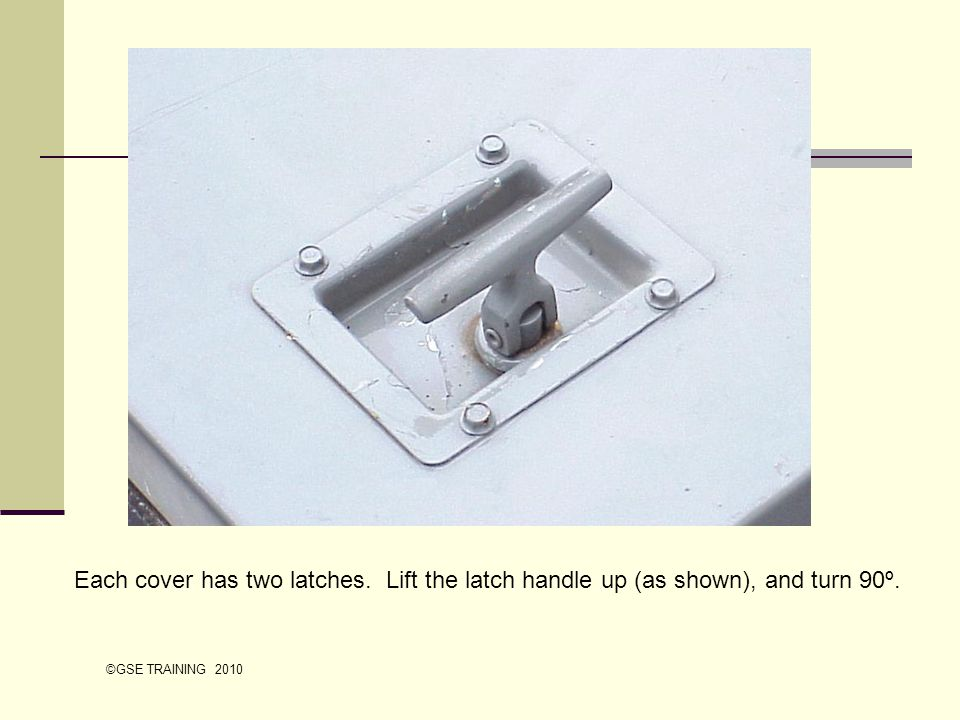 Each cover has two latches. Lift the latch handle up (as shown), and turn 90º. ©GSE TRAINING 2010