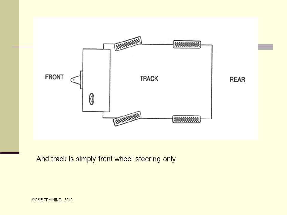 And track is simply front wheel steering only. ©GSE TRAINING 2010