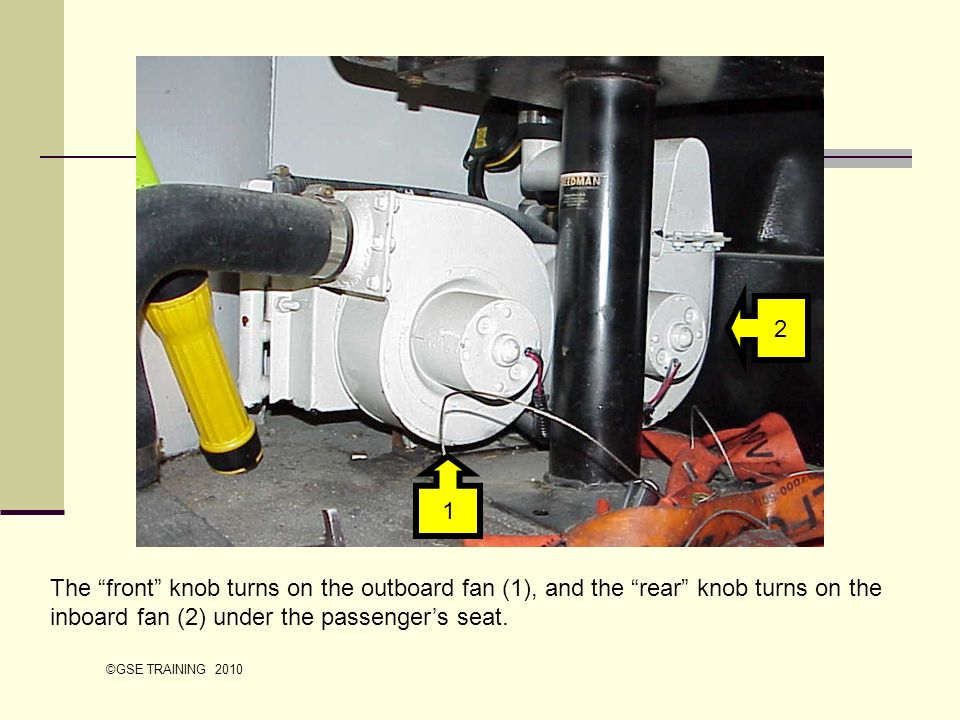 The front knob turns on the outboard fan (1), and the rear knob turns on the inboard fan (2) under the passengers seat. 2 1 ©GSE TRAINING 2010