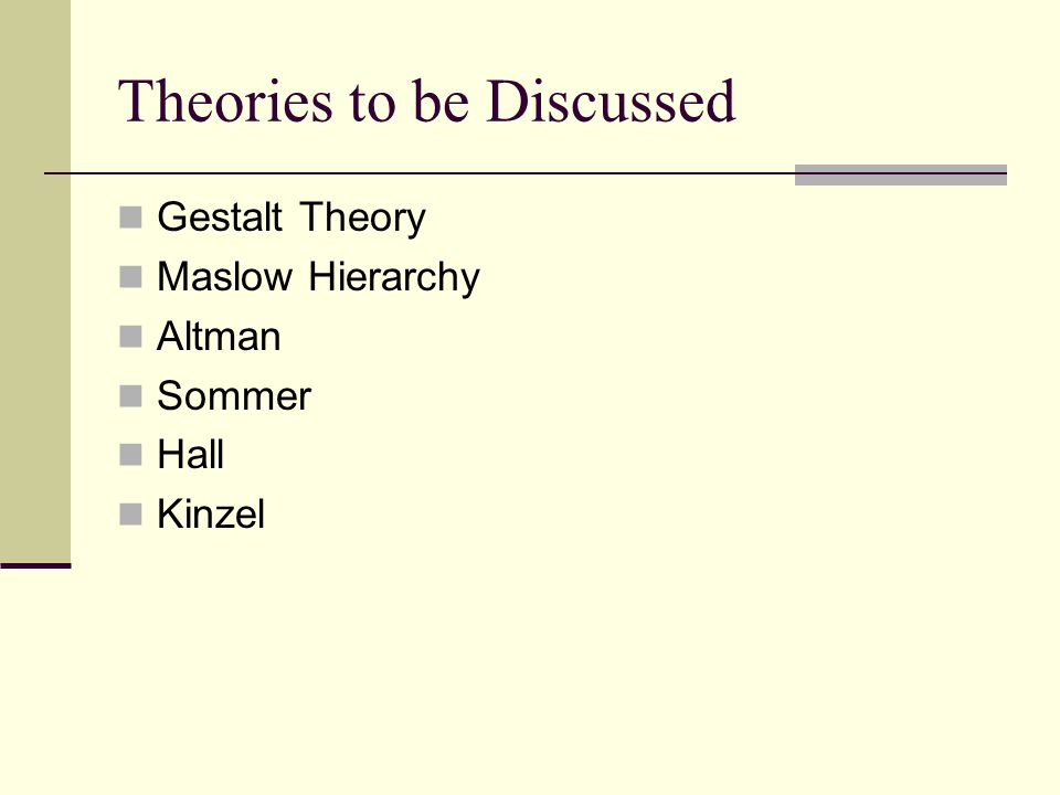 Theories to be Discussed Gestalt Theory Maslow Hierarchy Altman Sommer Hall Kinzel
