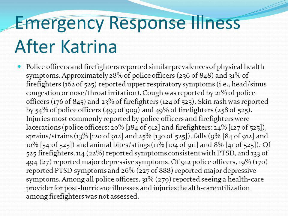 Emergency Response Illness After Katrina Police officers and firefighters reported similar prevalences of physical health symptoms. Approximately 28%