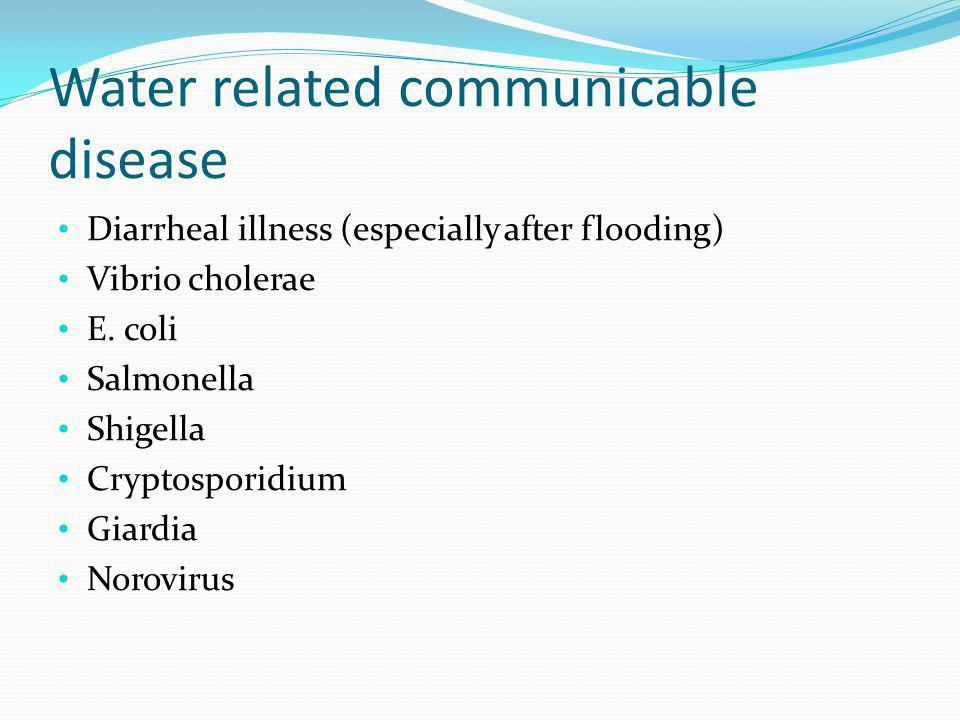 Water related communicable disease Diarrheal illness (especially after flooding) Vibrio cholerae E. coli Salmonella Shigella Cryptosporidium Giardia N