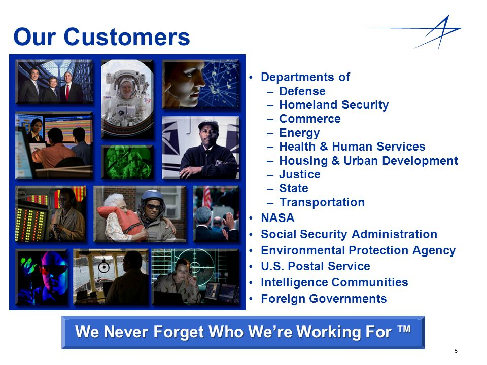5 Our Customers Departments of – –Defense – –Homeland Security – –Commerce – –Energy – –Health & Human Services – –Housing & Urban Development – –Just