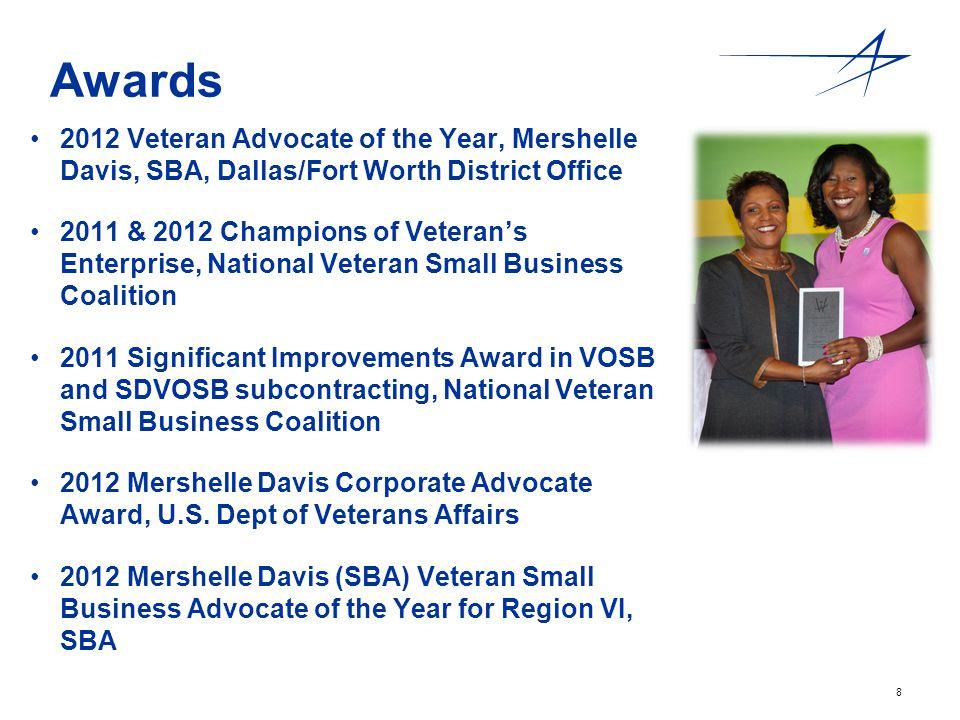 8 Awards 2012 Veteran Advocate of the Year, Mershelle Davis, SBA, Dallas/Fort Worth District Office 2011 & 2012 Champions of Veterans Enterprise, Nati
