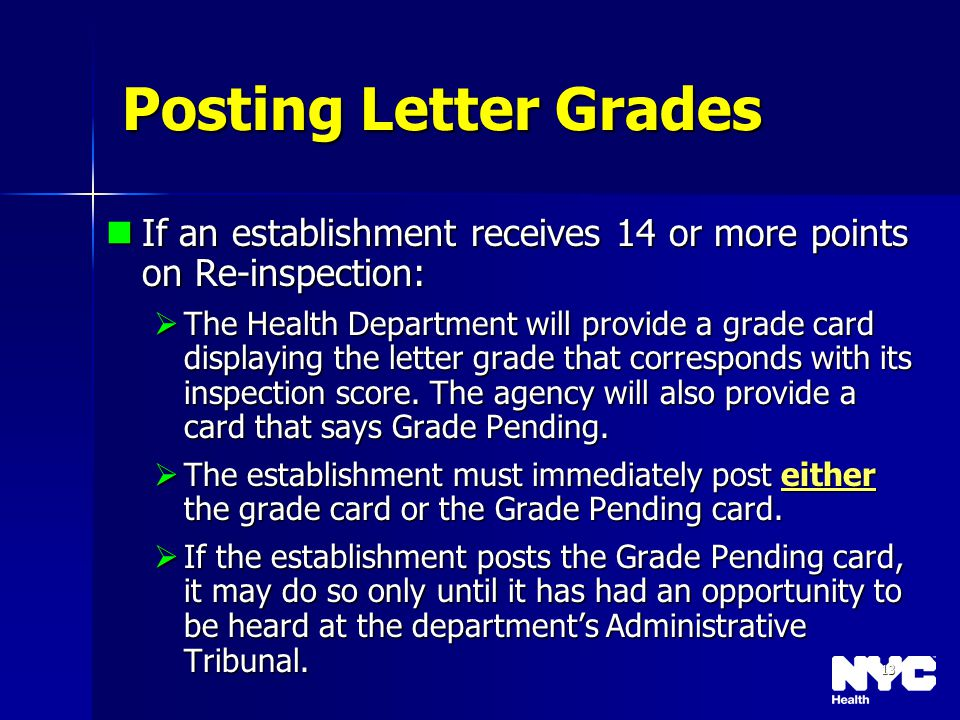 13 Posting Letter Grades If an establishment receives 14 or more points on Re-inspection: If an establishment receives 14 or more points on Re-inspect