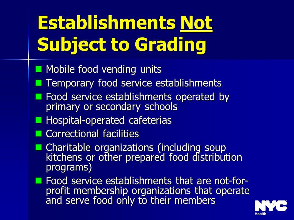 8 Establishments Not Subject to Grading Mobile food vending units Mobile food vending units Temporary food service establishments Temporary food servi