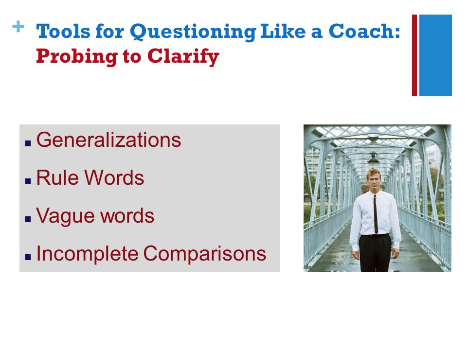 + Generalizations Rule Words Vague words Incomplete Comparisons Tools for Questioning Like a Coach: Probing to Clarify