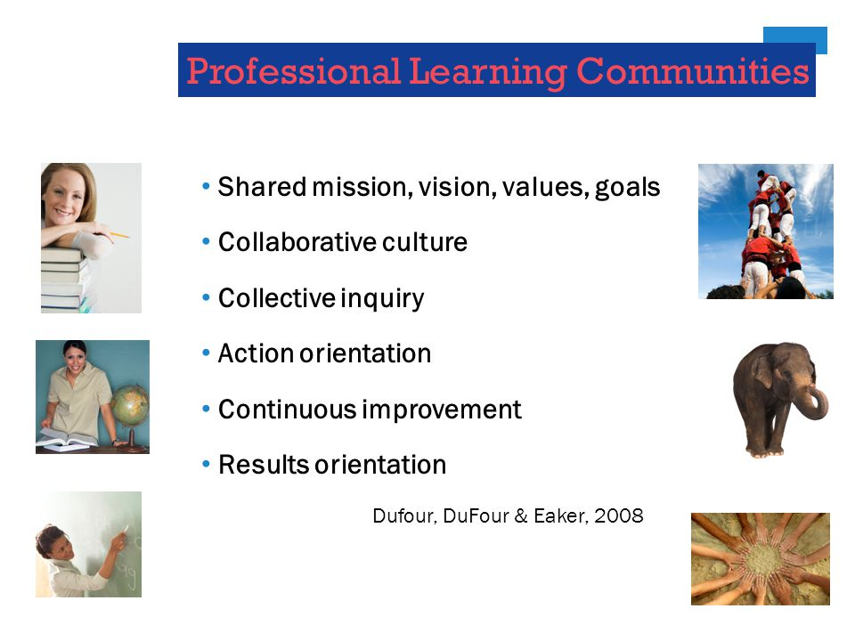 Professional Learning Communities Shared mission, vision, values, goals Collaborative culture Collective inquiry Action orientation Continuous improvement Results orientation Dufour, DuFour & Eaker, 2008