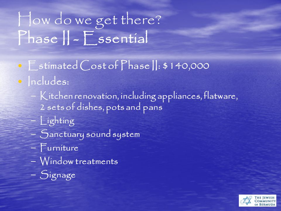 How do we get there? Phase I - Critical Estimated Cost of Phase I: $95,000 Includes: – – Rent prepayment and initial operating expenses – – Flooring a