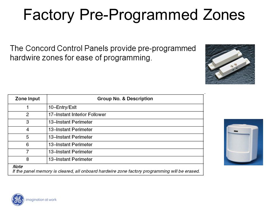 Factory Pre-Programmed Zones The Concord Control Panels provide pre-programmed hardwire zones for ease of programming.