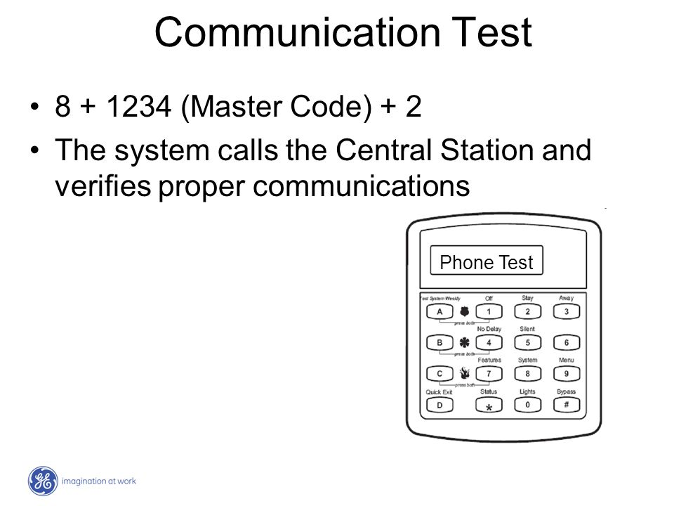 Communication Test 8 + 1234 (Master Code) + 2 The system calls the Central Station and verifies proper communications Phone Test