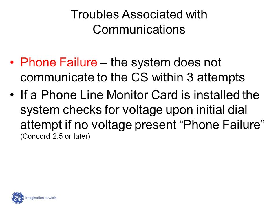 Troubles Associated with Communications Phone Failure – the system does not communicate to the CS within 3 attempts If a Phone Line Monitor Card is in
