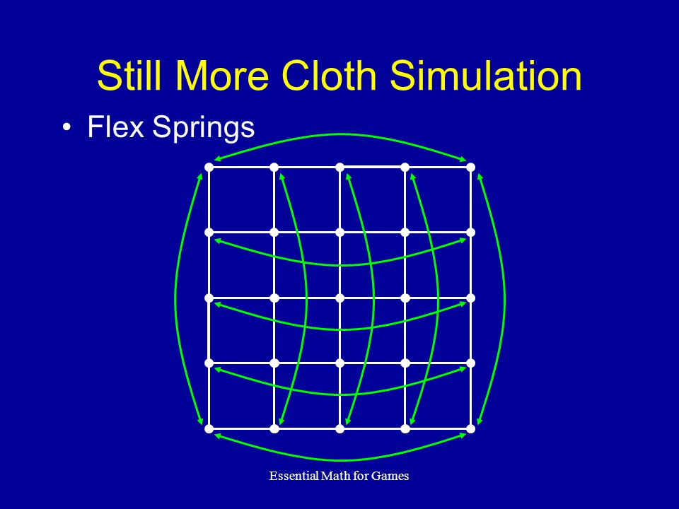 Essential Math for Games Still More Cloth Simulation Flex Springs
