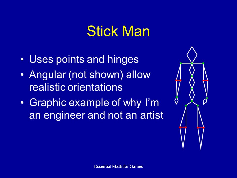 Essential Math for Games Stick Man Uses points and hinges Angular (not shown) allow realistic orientations Graphic example of why Im an engineer and not an artist