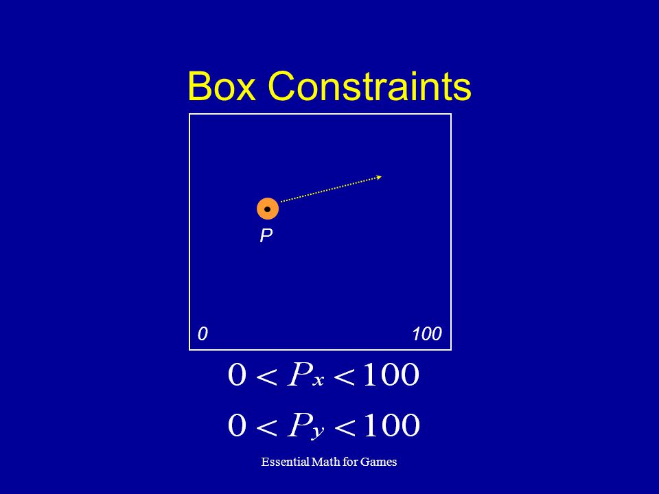 Essential Math for Games Box Constraints P 100 0