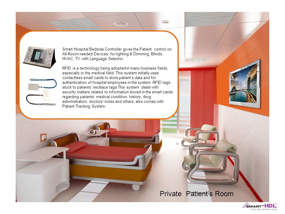 Private Patients Room Smart Hospital Bedside Controller gives the Patient control on All-Room needed Devices; for lighting & Dimming, Blinds, HVAC, TV with Language Selector.