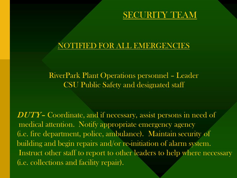 SECURITY TEAM NOTIFIED FOR ALL EMERGENCIES RiverPark Plant Operations personnel – Leader CSU Public Safety and designated staff DUTY – Coordinate, and if necessary, assist persons in need of medical attention.