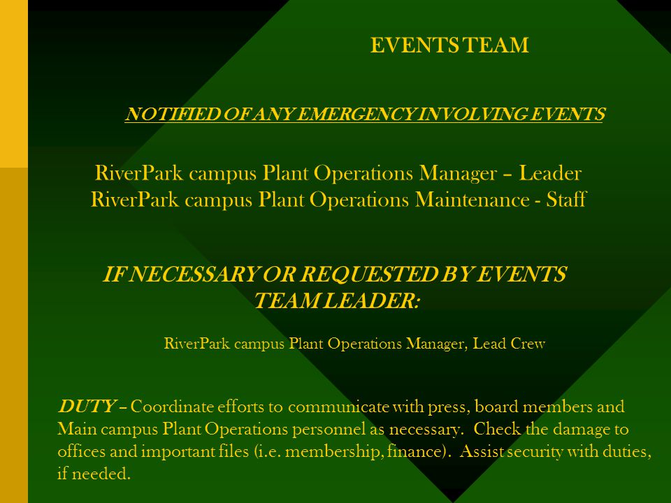 EVENTS TEAM NOTIFIED OF ANY EMERGENCY INVOLVING EVENTS RiverPark campus Plant Operations Manager – Leader RiverPark campus Plant Operations Maintenance - Staff IF NECESSARY OR REQUESTED BY EVENTS TEAM LEADER: RiverPark campus Plant Operations Manager, Lead Crew DUTY – Coordinate efforts to communicate with press, board members and Main campus Plant Operations personnel as necessary.