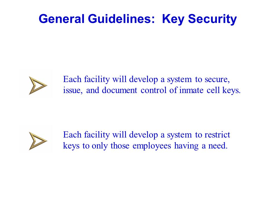 General Guidelines: Key Security Each facility will develop a system to secure, issue, and document control of inmate cell keys. Each facility will de