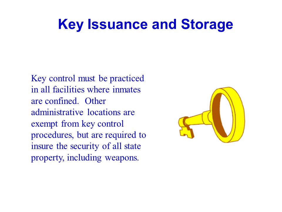 General Guidelines: Storage of Duplicate and Pattern Keys Duplicate and pattern keys will be stored on keyboards or in key cabinets.