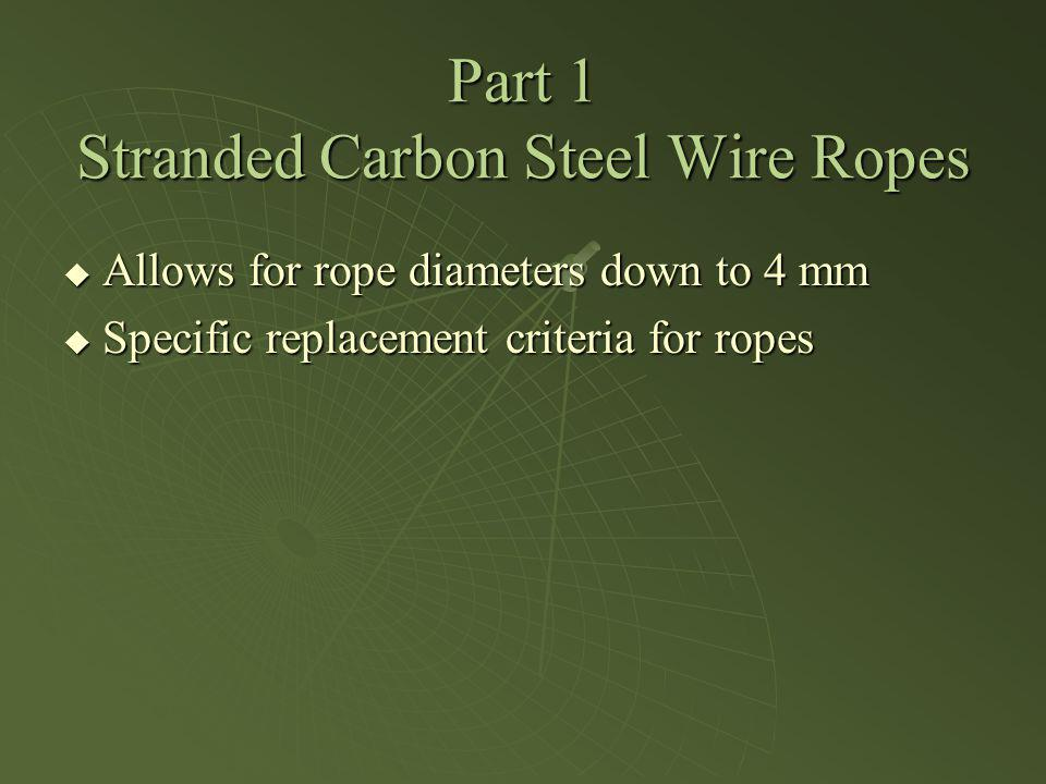 Part 1 Stranded Carbon Steel Wire Ropes Allows for rope diameters down to 4 mm Allows for rope diameters down to 4 mm Specific replacement criteria fo