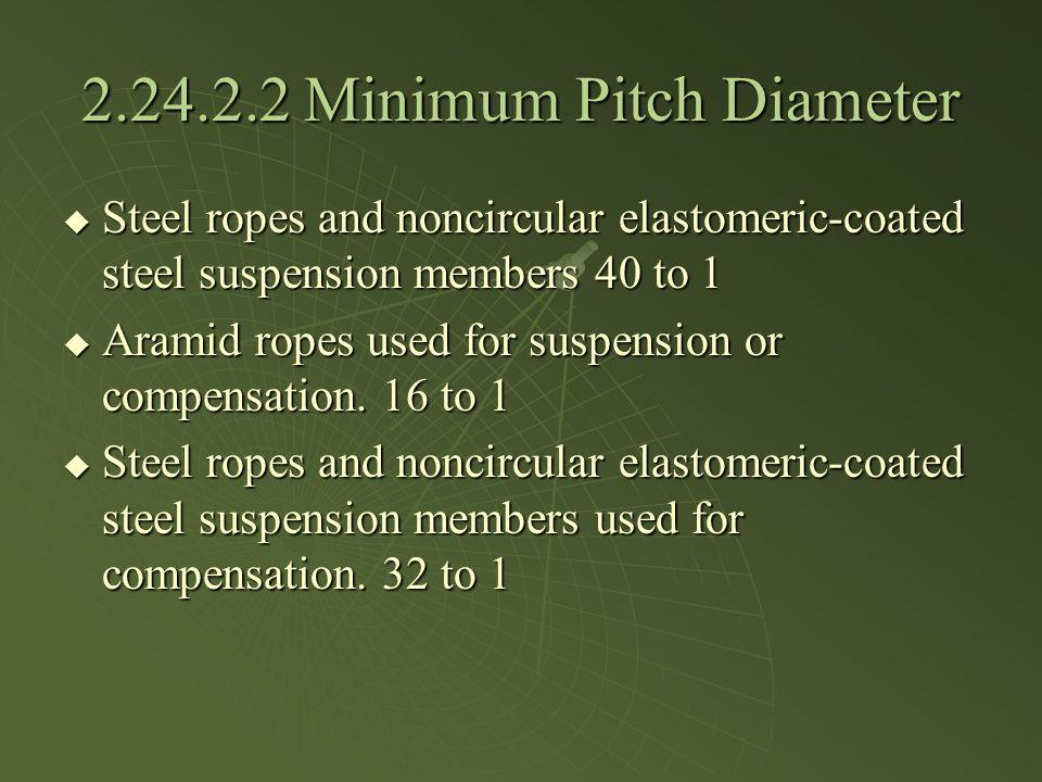 2.24.2.2 Minimum Pitch Diameter Steel ropes and noncircular elastomeric-coated steel suspension members 40 to 1 Steel ropes and noncircular elastomeri