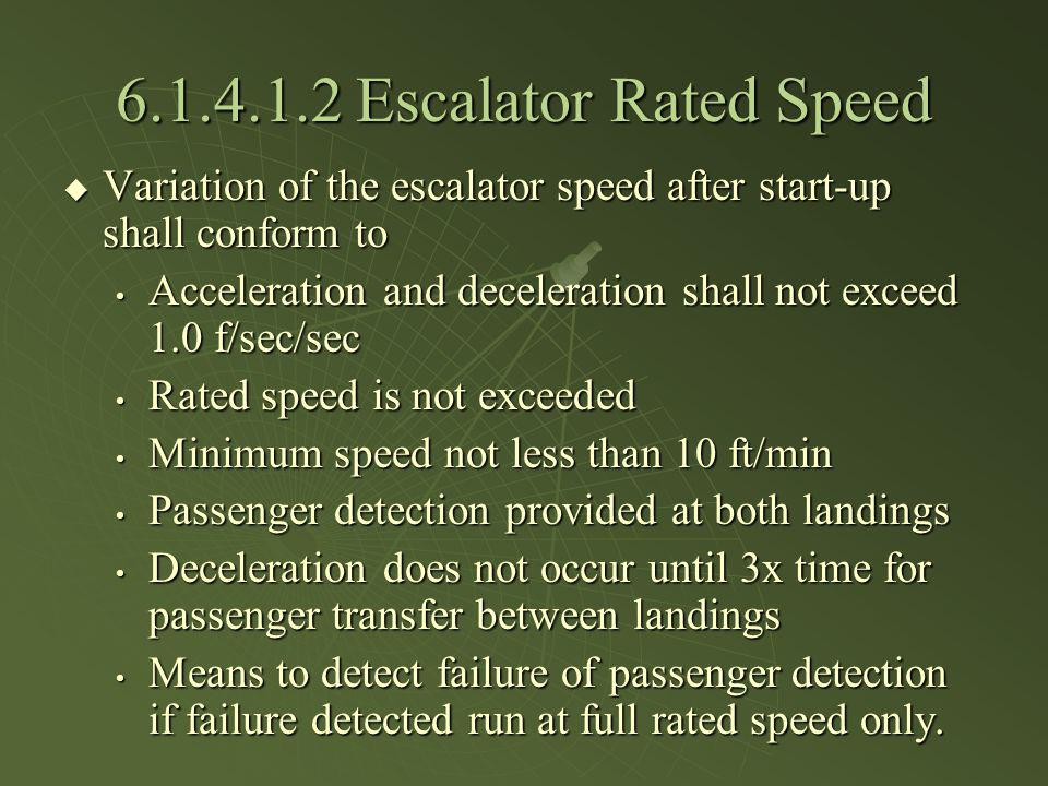 6.1.4.1.2 Escalator Rated Speed Variation of the escalator speed after start-up shall conform to Variation of the escalator speed after start-up shall