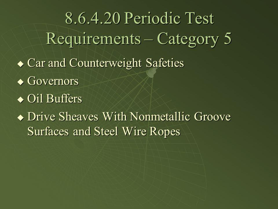 8.6.4.20 Periodic Test Requirements – Category 5 Car and Counterweight Safeties Car and Counterweight Safeties Governors Governors Oil Buffers Oil Buf