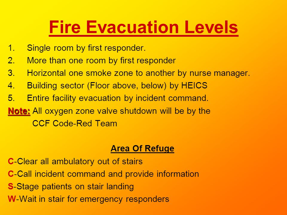 Fire Evacuation Levels 1.Single room by first responder. 2.More than one room by first responder 3.Horizontal one smoke zone to another by nurse manag
