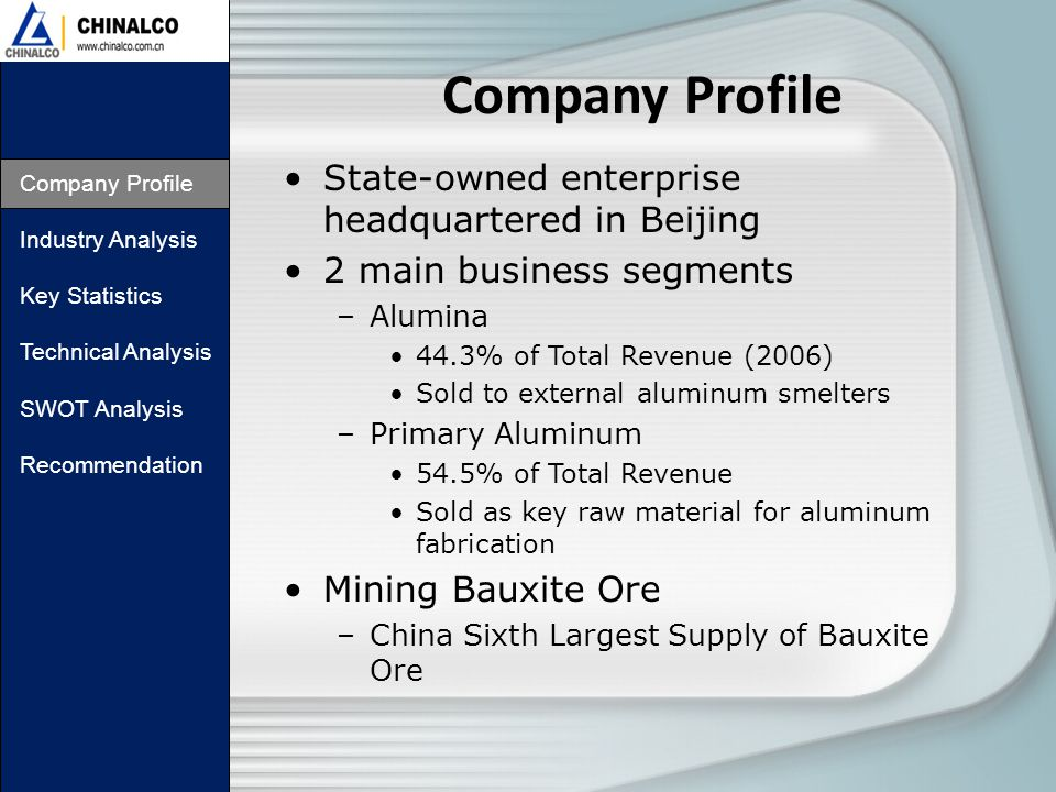 Company Profile Industry Analysis Key Statistics Technical Analysis SWOT Analysis Recommendation State-owned enterprise headquartered in Beijing 2 main business segments –Alumina 44.3% of Total Revenue (2006) Sold to external aluminum smelters –Primary Aluminum 54.5% of Total Revenue Sold as key raw material for aluminum fabrication Mining Bauxite Ore –China Sixth Largest Supply of Bauxite Ore