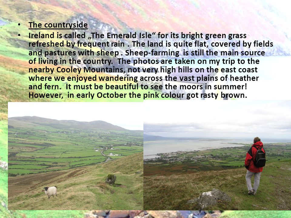 The countryside Ireland is called The Emerald Isle for its bright green grass refreshed by frequent rain. The land is quite flat, covered by fields an