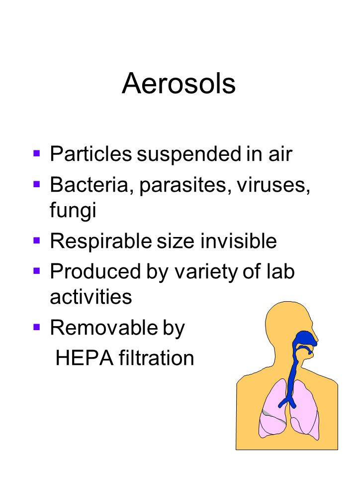 Aerosols Particles suspended in air Bacteria, parasites, viruses, fungi Respirable size invisible Produced by variety of lab activities Removable by H