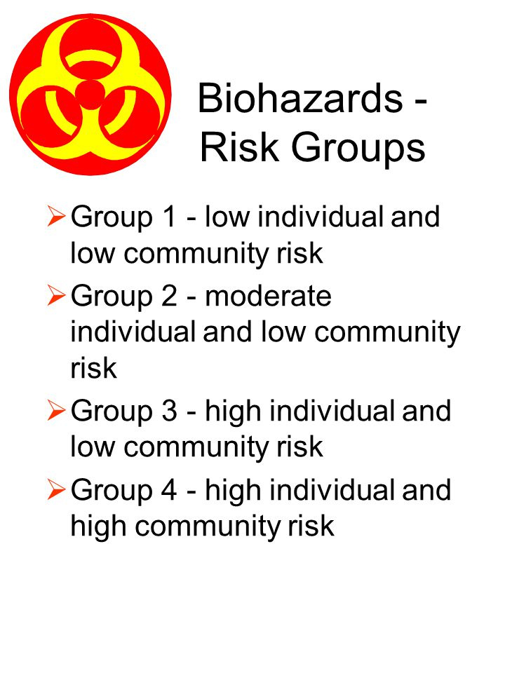 Biohazards - Risk Groups Group 1 - low individual and low community risk Group 2 - moderate individual and low community risk Group 3 - high individua