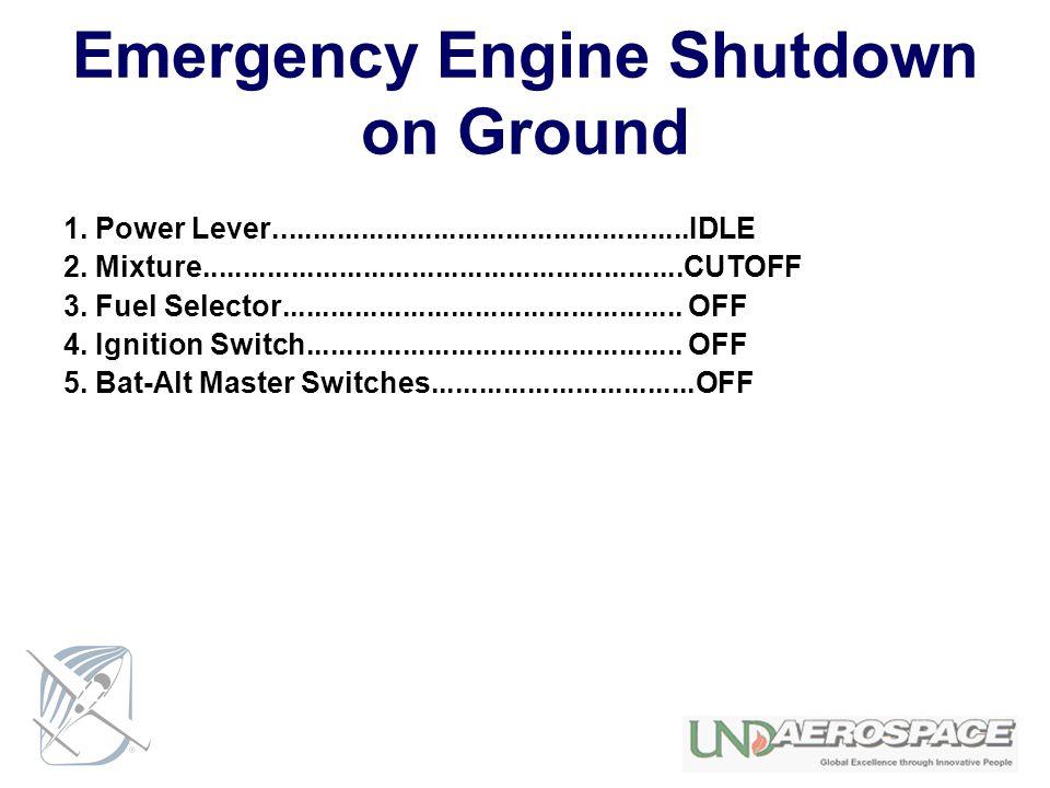 Emergency Engine Shutdown on Ground 1. Power Lever....................................................IDLE 2. Mixture.................................