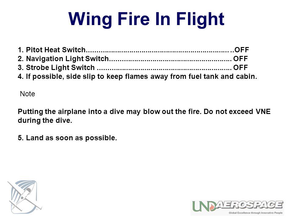Wing Fire In Flight 1. Pitot Heat Switch........................................................................OFF 2. Navigation Light Switch........