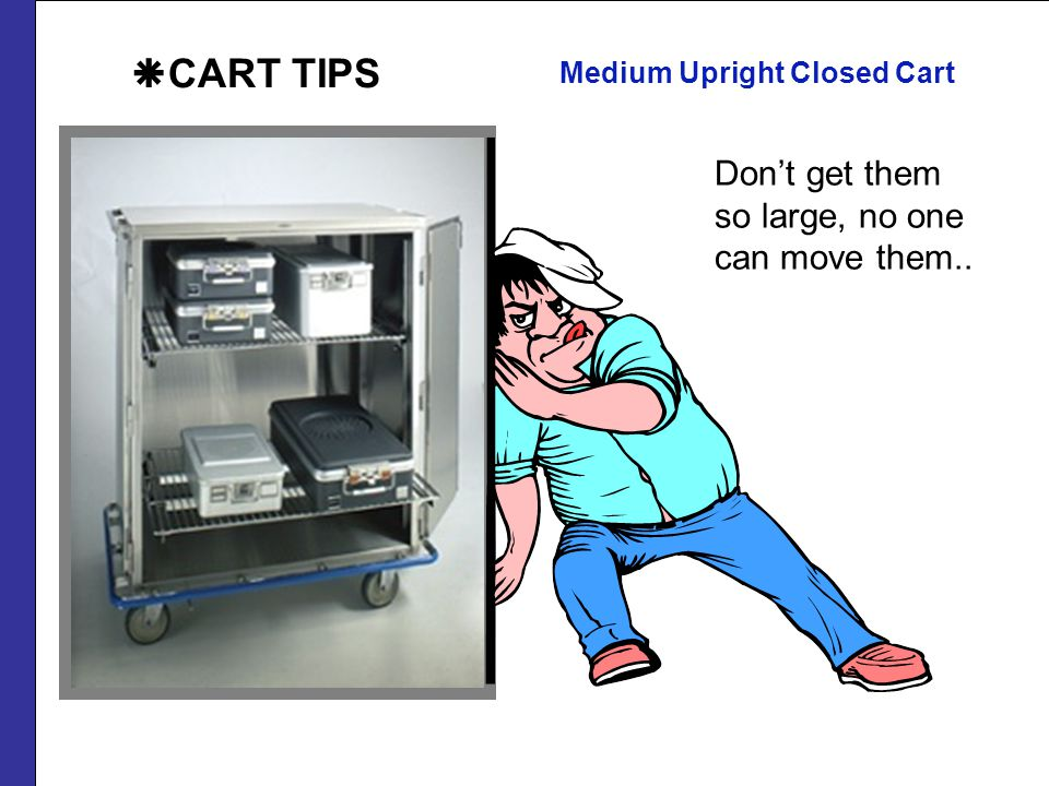 Medium Upright Closed Cart Dont get them so large, no one can move them.. CART TIPS